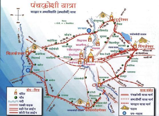 Route map of Panchkroshii Yatra Ujjain