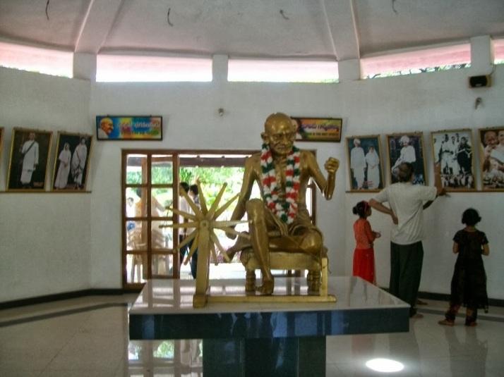 Pictures of Mahatma Gandhi displayed inside Gandhi Bhavan