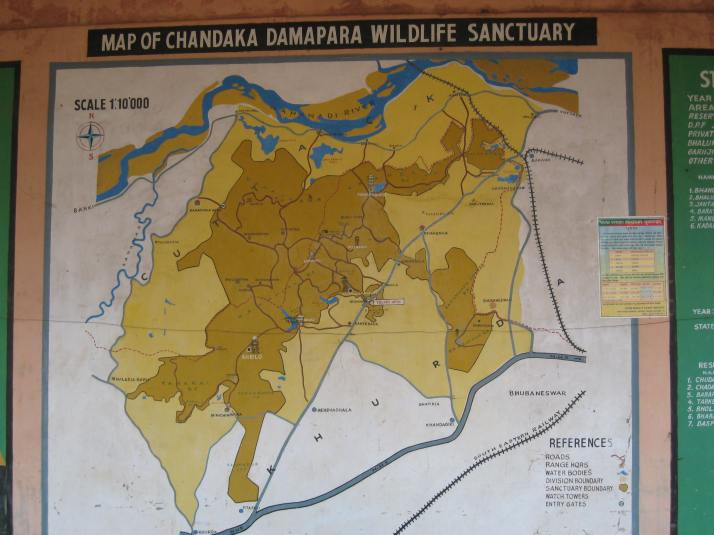 Map of Chandaka Elephant Sanctuary Bhubaneswar
