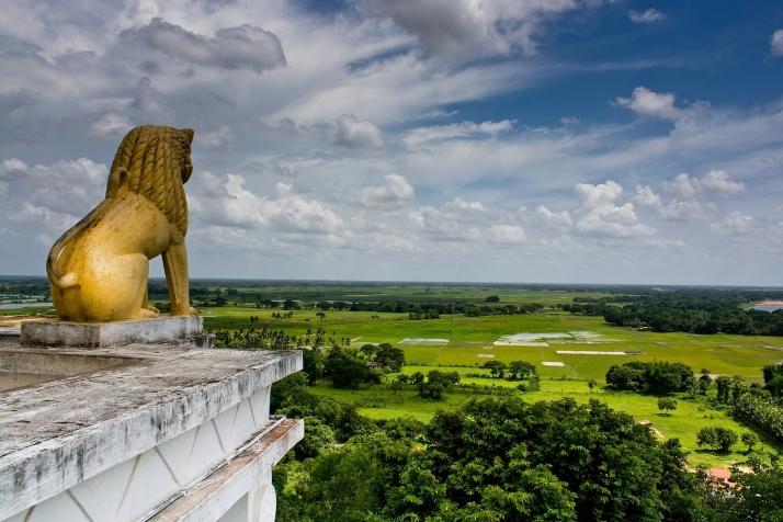 Statue of a lion at the Shanti Stupa at Dhauli Giri Hills