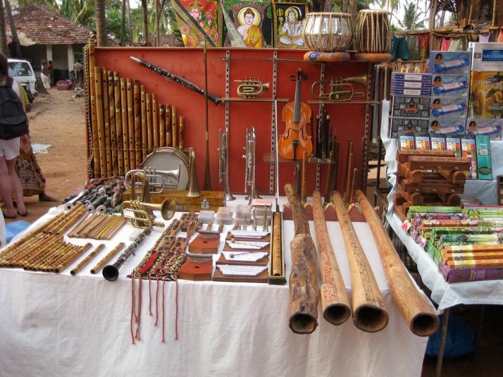 Musical Instruments on display at Anjuna Flea Market